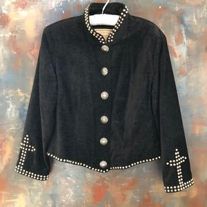 Double D Ranch Velour Studded Cross Jacket